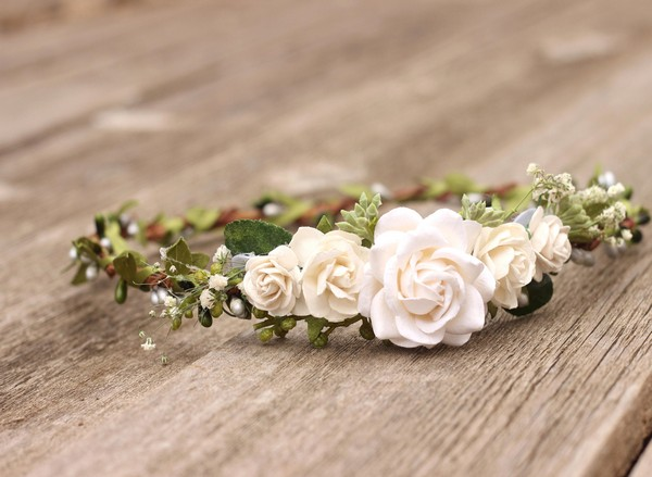 Flower crown wedding White floral crown adult Bridal headband Ivory