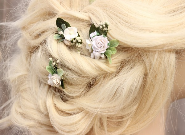 Dainty White Bridal Hair Pins Boho Wedding Flower Hair Pins Ivory