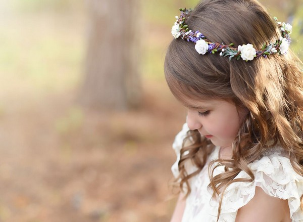 Lavender purple flower girl crown halo wedding floral crown lilac