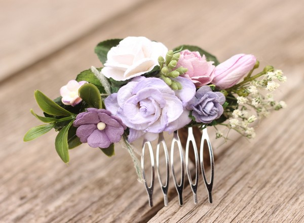 Flower hair comb lavender hair clip purple wedding comb greenery