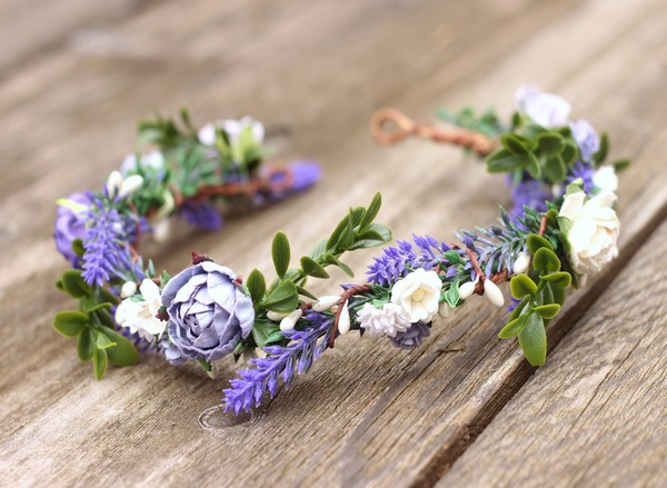 Purple flower crown wedding floral crown white