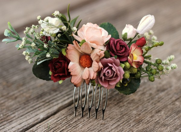 Flower hair comb rustic wedding burgundy floral hair comb clip Mauve bridal comb