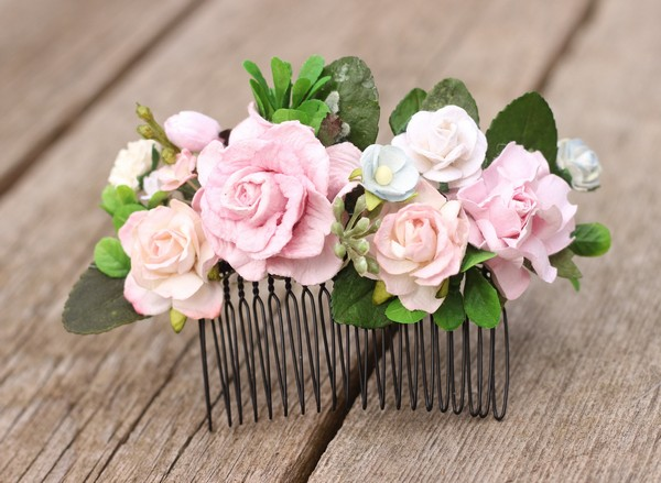 Flower hair comb blush floral hair comb blue bridal hair clip