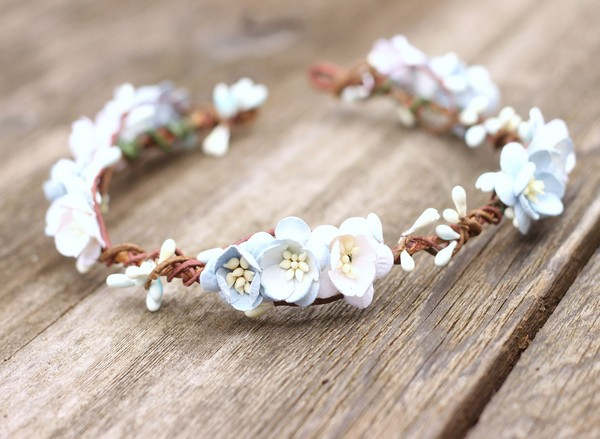 Flower crown wedding Blue floral crown adult headpiece light blue