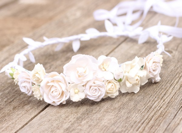 First communion white flower crown Girls floral crown Ivory halo