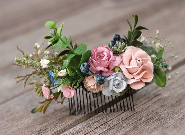Floral hair comb navy mauve blue flower hair comb greenery wedding