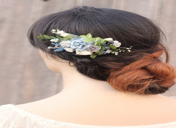Blue flower hair comb Silver bridal floral hair piece navy flower comb