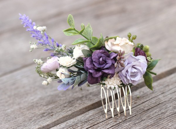 Purple flower hair comb lavender wedding hair comb floral hairpiece