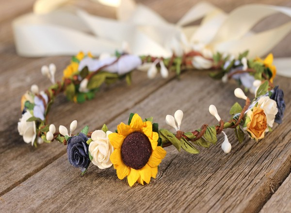 Wedding Flower Crown Sunflower navy floral crown burnt orange