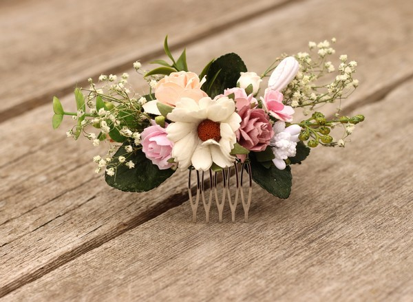 Flower hair comb white wedding hair clip mauve hair comb blush boho