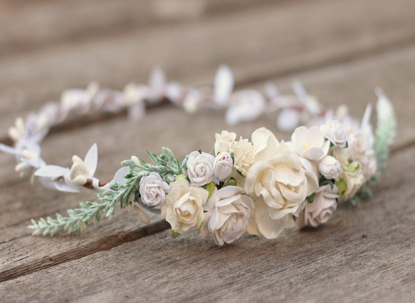 White flower crown wedding Ivory bridal floral hair crown