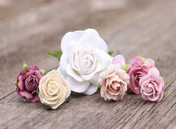 Flower bobby hair pins mauve white champagne - Hair pins bridal