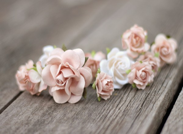 Dusty rose blush wedding flower hair pins bridal floral pins white