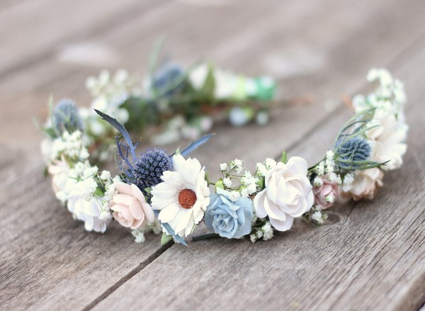Babies breath wildflower blue thistle daisy wedding flower crown