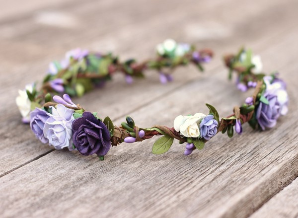 Purple Flower Crown Lavender Floral Crown Halo Plum Headpiece