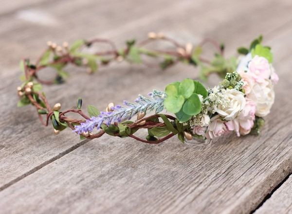 Bohemian flower crown blush white side flower crown greenery