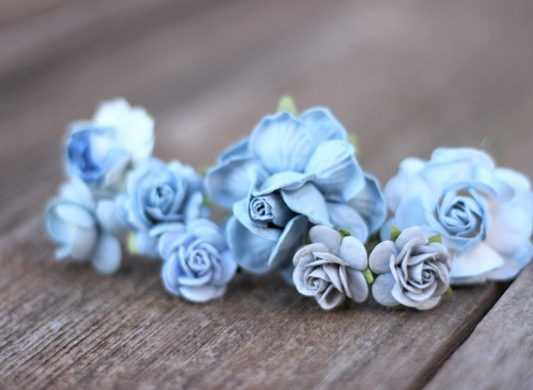 Blue flower hair pin set Bridal floral bobby hair pins