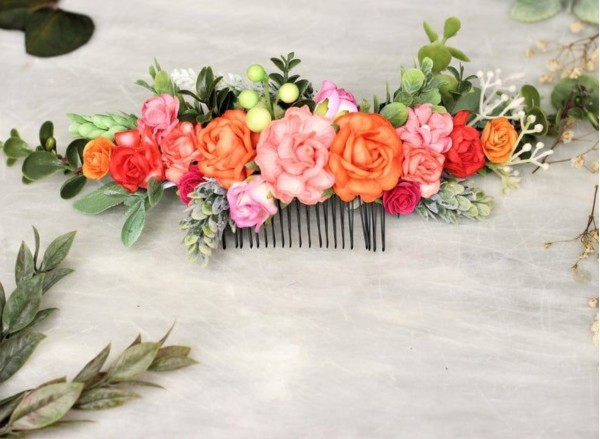 Colorful bright flower hair comb peach coral pink orange hair vine