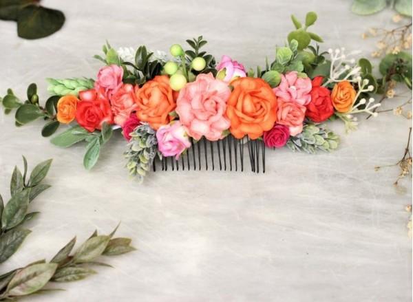Colorful bright flower hair comb peach coral pink orange hair vine
