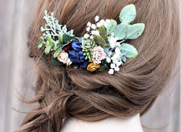 Flower hair comb mustard navy champagne burgundy boho hair piece