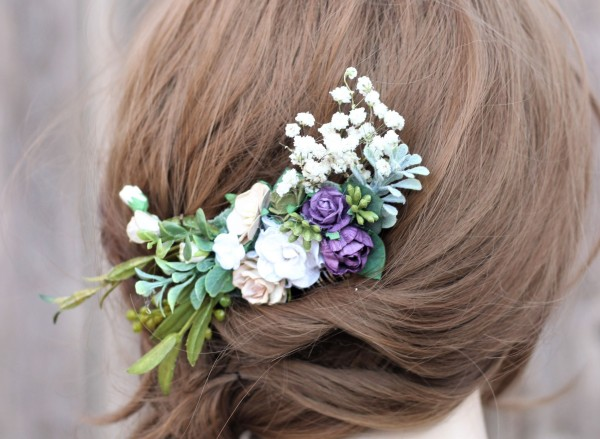 Purple flower hair comb plum white champagne floral hair comb
