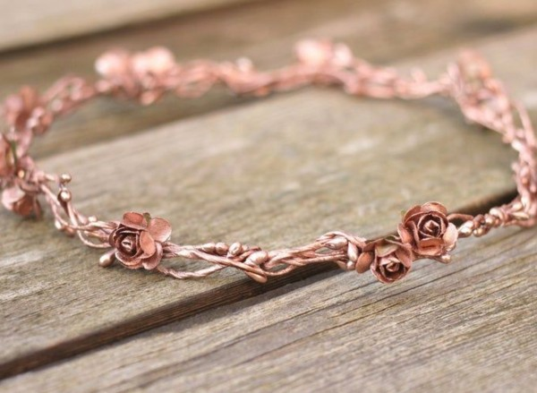 Rose gold flower crown wedding floral crown gold headpiece