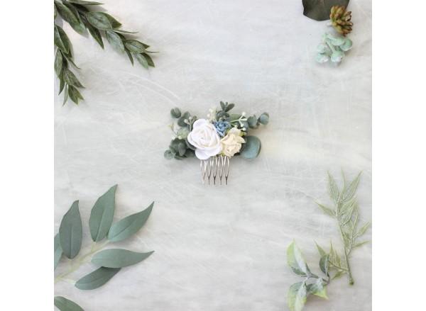Eucalyptus white flower hair comb, Blue floral hair comb, Bridal flower hair comb