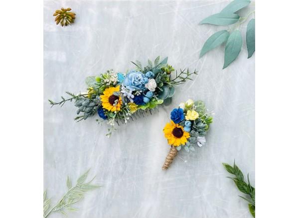 Sunflower dusty blue yellow babies breath wedding flower comb